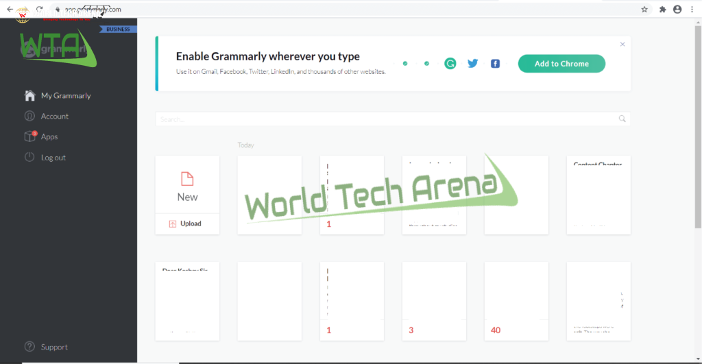 grammarly web interface view